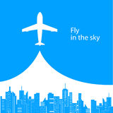 Airplane. Abstract decorative background with Airplane and city royalty free illustration