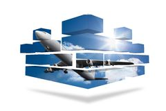 Airplane on abstract screen Royalty Free Stock Image