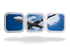 Airplane on abstract screen Royalty Free Stock Photo