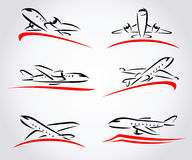 Airplane abstract set. Vector Stock Photo