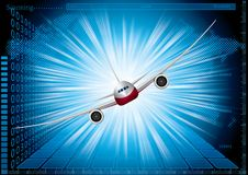 Airplane on an abstract technology background. Use layer overlay effect Stock Image