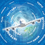 Airplane against business words and money Stock Photography