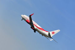 Airplane of Air Algerie above Frankfurt airport Royalty Free Stock Photography