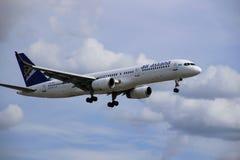 Airplane of air astana stock image