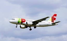 A airplane of Air Portugal royalty free stock images