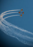 Airplane air show team smoke trail Synchronized Stock Photo