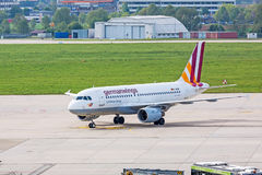 Airplane Airbus A319 at ground, airport Stuttgart, Germany Stock Image