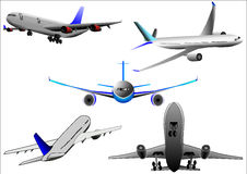 Airplane airbus plane vector over white background. Illustration vector of airbus airplane or plane flying over white background Stock Images
