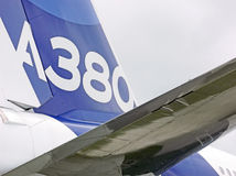 Airplane. Airbus A380 tail detail picture royalty free stock photo