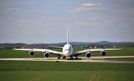 Airplane Airbus A380 - Vaclav Havel Airport Prague, Czech Republic royalty free stock photography