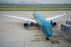 Airplane Airbus A350 VN-A888 Vietnam Airlines on the ramp Noi Bai Airport Royalty Free Stock Image