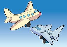 Airplane aircraft aeroplane plane cartoon Stock Image