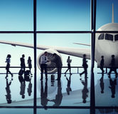 Airplane Aircraft Airport Business Travel Flight Transport Concept.  royalty free stock photos