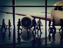 Airplane Aircraft Airport Business Travel Flight Transport Conce. Pt Royalty Free Stock Photos