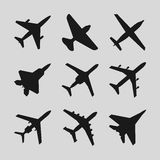 Airplane, aircraft vector icons. Set of airplane silhouette and fighter airplane illustration Stock Images
