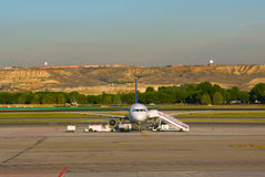 Airplane on airfield Royalty Free Stock Images