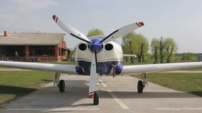 Airplane on the airfield. Panoramic shot of airplane on the airfield stock footage