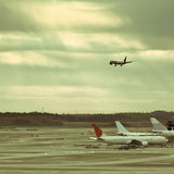 Airplane of airport Stock Images