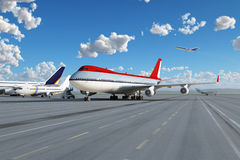 Airplane in airport Stock Image