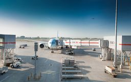 Airplane at an airport, Benito Juarez Stock Image