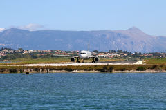 Airplane on airport Corfu island Royalty Free Stock Photography