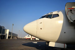 Airplane in airport of Ercan, Cyprus. Airplane in airport of Ercan, Northern Cyprus Stock Photography