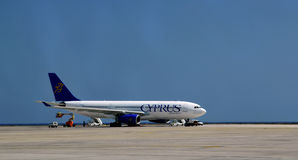 Airplane in airport of Larnaka-Cyprus Stock Photo