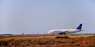 Airplane in airport of Larnaka-Cyprus Royalty Free Stock Photos