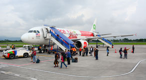 An airplane at the airport in Lombok, Indonesia.  Royalty Free Stock Photo