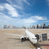 Airplane at airport Royalty Free Stock Image
