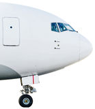 Airplane airport profile landing gear cab pilots fly nose.  Stock Photo