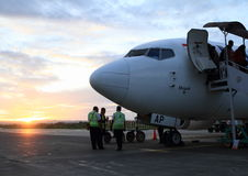Airplane at airport in Sorong Royalty Free Stock Image