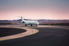 Airplane at airport stock image