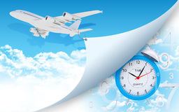 Airplane and alarm clock with figures. Airplane pulls the rope edge of paper. Alarm clock with figures as backdrop Royalty Free Stock Image