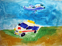 Airplane and ambulance car - painted by child Stock Images