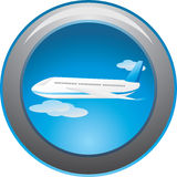 Airplane Among Clouds. Button Royalty Free Stock Photography