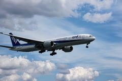 Airplane of ANA airlines stock images