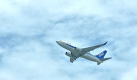 Airplane of ANA Airlines plane is departuring Stock Photos