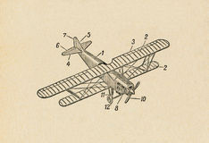 Airplane. Ancient airplane draft on rough paper Royalty Free Stock Images