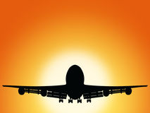 Airplane And Sunset Stock Image
