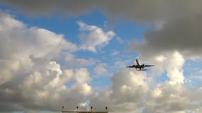 Airplane approaching before landing stock footage