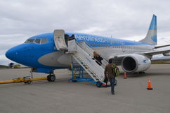 Airplane in Argentina (new colors) Aerolinea Argentinas Stock Image