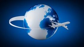 Airplane around Earth Royalty Free Stock Photos