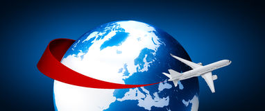 Airplane around Earth Royalty Free Stock Photos
