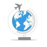 Airplane around globe Royalty Free Stock Photos