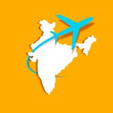 Airplane around Indian Map Royalty Free Stock Photos