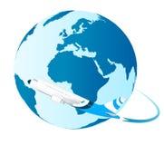 Airplane around the World Royalty Free Stock Image