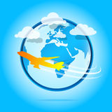 Airplane around the world Royalty Free Stock Image