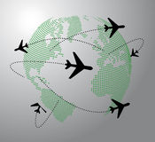 Airplane around the world Stock Photo