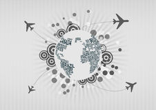 Airplane around the world Royalty Free Stock Photography